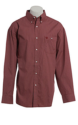 George Strait by Wrangler Men's Red Geo Print Long Sleeve Western Shirt