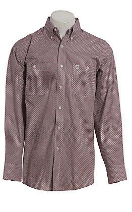 George Strait by Wrangler Men's Red Geo Print Long Sleeve Western Shirt