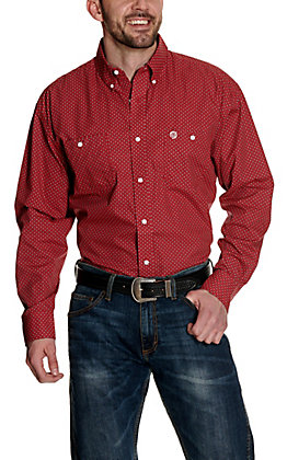 Wrangler George Strait Red with Black & White Geo Print Relaxed Long Sleeve Western Shirt