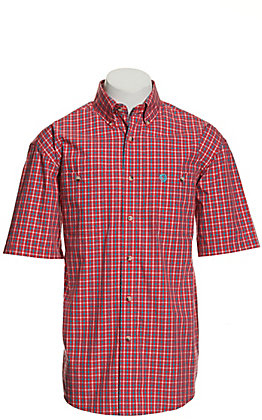 Wrangler George Strait Men's Red and Turquoise Plaid Short Sleeve Western Shirt
