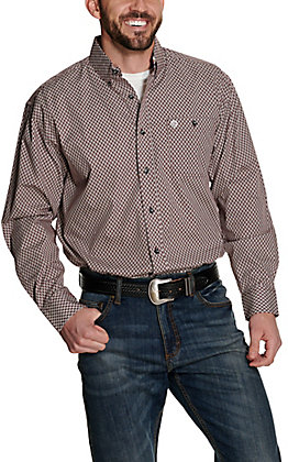 Wrangler George Strait Men's Burgundy with White Geo Print Relaxed Long Sleeve Western Shirt