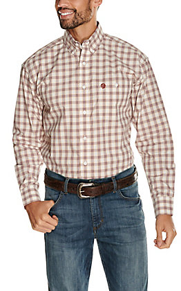 Wrangler George Strait Men's Burgundy and Tan Plaid Long Sleeve Western Shirt