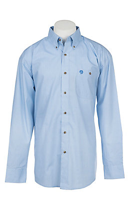 Wrangler George Strait Collection Men's Cavender's Exclusive Blue Geo Print Long Sleeve Western Shirt - Big & Tall
