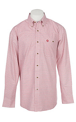 Wrangler George Strait Collection Men's Cavender's Exclusive Red Print Long Sleeve Western Shirt