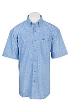 Wrangler George Strait Collection Men's Cavender's Exclusive Blue Paisley Short Sleeve Western Shirt - Big & Tall