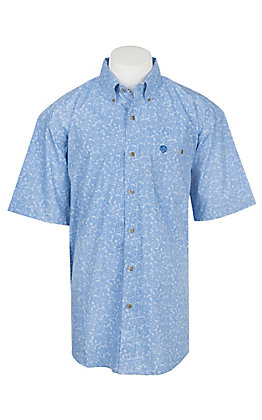 George Strait by Wrangler Cavender's Exclusive Men's Blue Paisley Short Sleeve Western Shirt - Big & Tall