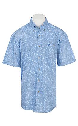 Wrangler George Strait Collection Men's Cavender's Exclusive Blue Paisley Short Sleeve Western Shirt