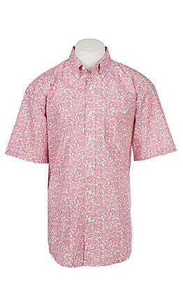 Wrangler George Strait Collection Men's Cavender's Exclusive Red Paisley Short Sleeve Western Shirt