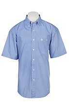 Wrangler George Strait Collection Men's Cavender's Exclusive Blue Medallion Print Short Sleeve Western Shirt - Big & Tall