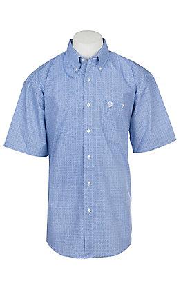 Wrangler George Strait Collection Men's Cavender's Exclusive Blue Medallion Print Short Sleeve Western Shirt - Big & Tall