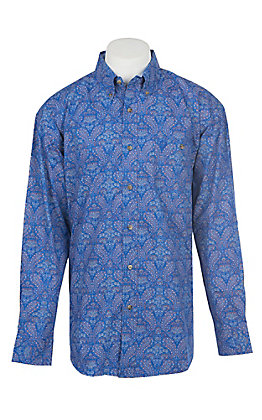 Wrangler George Strait Collection Men's Cavender's Exclusive Blue Paisley Long Sleeve Western Shirt - Big & Tall