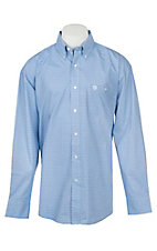 Wrangler George Strait Collection Men's Cavender's Exclusive Blue Print Long Sleeve Western Shirt - Big & Tall