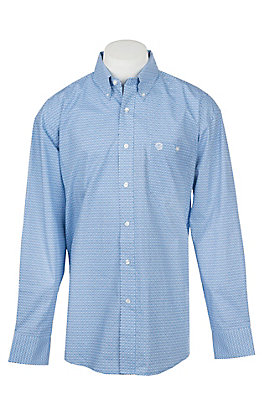 Wrangler George Strait Collection Men's Cavender's Exclusive Blue Print Long Sleeve Western Shirt