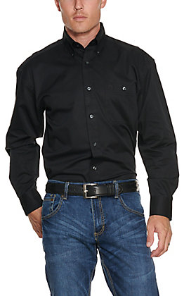 George Strait by Wrangler Men's Black Long Sleeve Western Shirt - Big & Tall