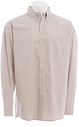 George Strait by Wrangler Men's Tan Plaid Long Sleeve Western Shirt