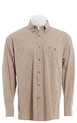 George Strait by Wrangler Men's Tan Paisley Long Sleeve Western Shirt
