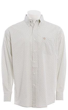 George Strait by Wrangler Men's Tan & Green Geo Print Long Sleeve Western Shirt
