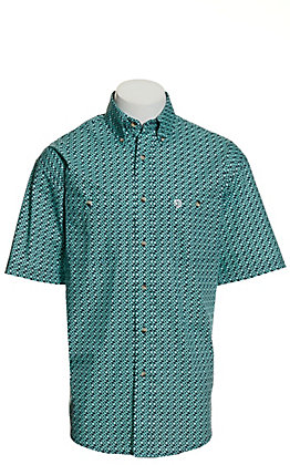 Wrangler George Strait Men's Turquoise and Navy Geo Print Short Sleeve Western Shirt