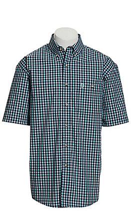 Wrangler George Strait Men's Navy & Turquoise Plaid Short Sleeve Western Shirt