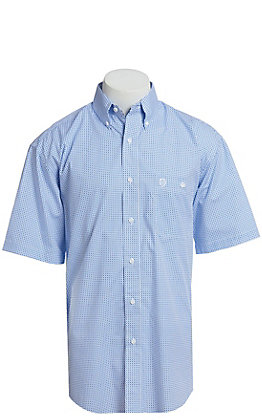 George Strait By Wrangler Men's Blue Geo Print Short Sleeve Western Shirt - Big & Tall