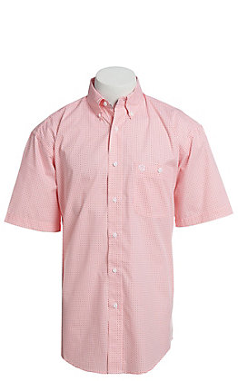 George Strait By Wrangler Men's Coral Geo Print Short Sleeve Western Shirt