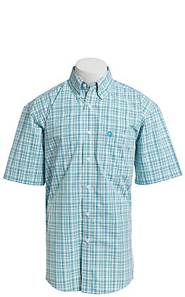 George Strait by Wrangler Men's Turquoise And Green Plaid Short Sleeve Western Shirt