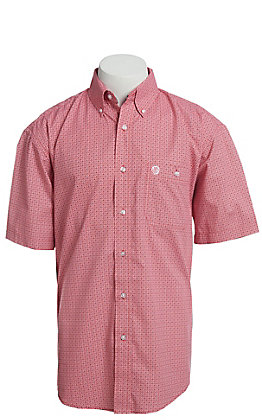 George Strait By Wrangler Men's Red Medallion Print Short Sleeve Western Shirt