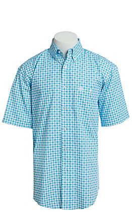 George Strait By Wrangler Men's Turquoise Medallion Print Short Sleeve Western Shirt - Big & Tall