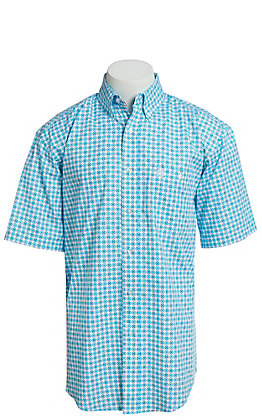 George Strait By Wrangler Men's Turquoise Medallion Print Short Sleeve Western Shirt