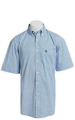 George Strait By Wrangler Men's Blue Geo Print Short Sleeve Western Shirt