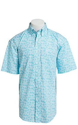 George Strait By Wrangler Men's Turquoise Paisley Print Short Sleeve Western Shirt - Big & Tall