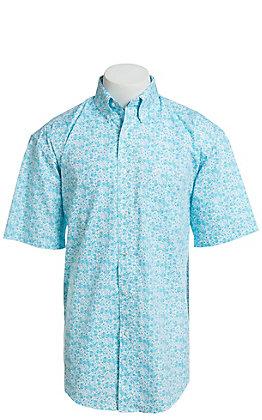 George Strait by Wrangler Men's Turquoise Paisley Print Short Sleeve Western Shirt - Big & Tall
