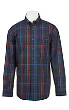 George Strait by Wrangler L/S Men's Black, Blue, and Red Plaid Western Shirt