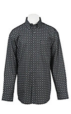 George Strait by Wrangler L/S Men's Grey and Black Mini Print Western Shirt