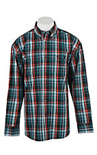 George Strait by Wrangler L/S Men's Emerald, Black, Red, and Navy Plaid Western Shirt