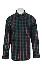George Strait by Wrangler L/S Men's Emerald, Red, and Black Plaid Western Shirt