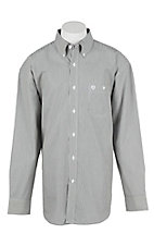 George Strait by Wrangler L/S Men's Black and White Striped Western Shirt