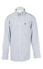 George Strait by Wrangler L/S Men's White, Black and Blue Grid Western Shirt
