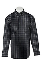 George Strait by Wrangler Men's Black and White Windowpane L/S Western Shirt