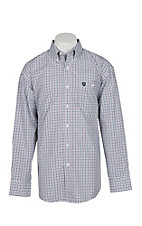George Strait by Wrangler Men's White w/ Red & Black Mini Windowpane Pattern L/S Western Shirt