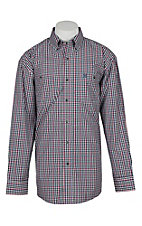 George Strait by Wrangler Men's Black, White & Red Mini Plaid L/S Western Shirt