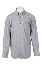 George Straight by Wrangler Men's Cavender's Exclusive L/S Black Geo Print Western Shirt - Big & Tall