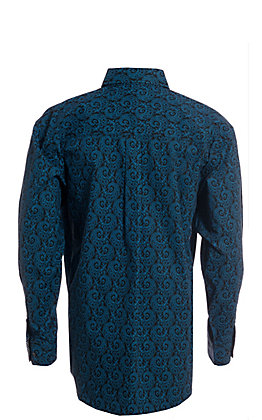 George Strait by Wrangler Men's Black And Blue Paisley Long Sleeve Western Shirt