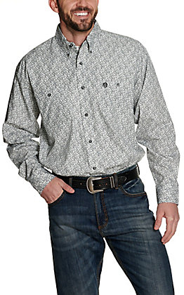 Wrangler George Strait Men's White with Black Paisley Print Relaxed Long Sleeve Western Shirt