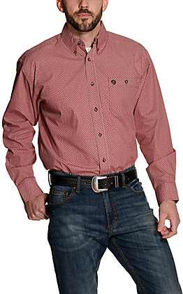 Wrangler George Strait Men's Red Geo Print Relaxed Long Sleeve Western Shirt
