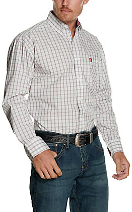 Wrangler George Strait Men's White with Black and Red Plaid Relaxed Long Sleeve Western Shirt