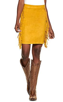 Lucky & Blessed Women's Mustard with Fringe Mini Skirt