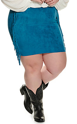 Lucky & Blessed Women's Teal Fringed Faux Suede Skirt - Plus Size
