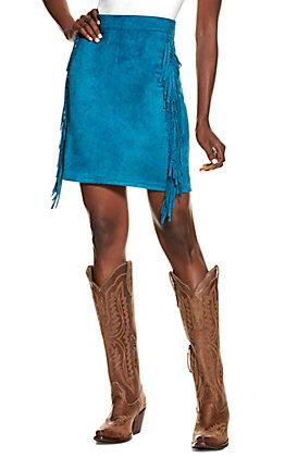 Lucky & Blessed Women's Teal with Fringe Mini Skirt