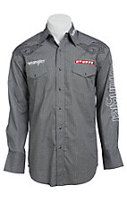 Wrangler PBR Men's Grey Steer Head Print with Logo Embroidery Long Sleeve Western Shirt MHS188MX- Big & Tall